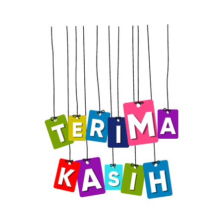 Thank you in Indonesian language hanging words vector, colourful words vector, terima kasih vector isolated on white background