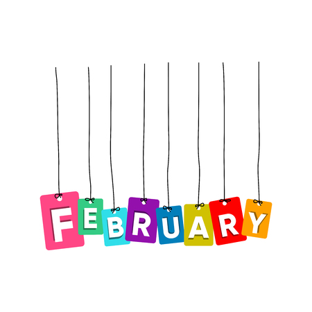February hanging words vector, colourful words vector, name of months vector isolated on white background