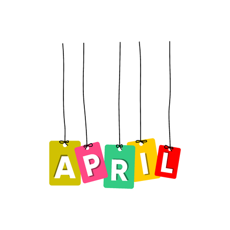 April hanging words vector, colourful words vector, name of months vector isolated on white background