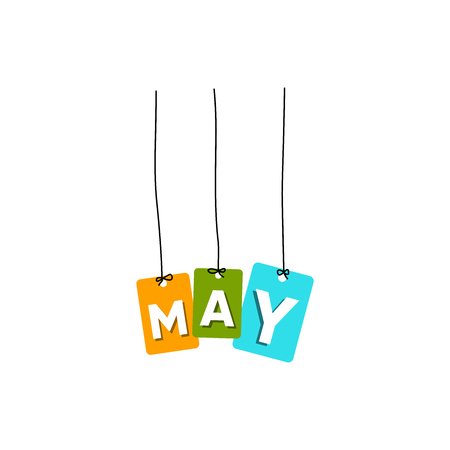 May hanging words vector, colourful words vector, name of months vector isolated on white background