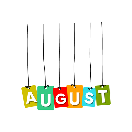 August hanging words vector, colourful words vector, name of months vector isolated on white background