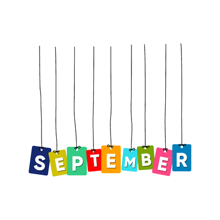September hanging words vector, colourful words vector, name of months vector isolated on white background Ilustrace