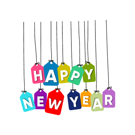 Happy New Year hanging words vector. colourful words vector isolated on white background 矢量图像