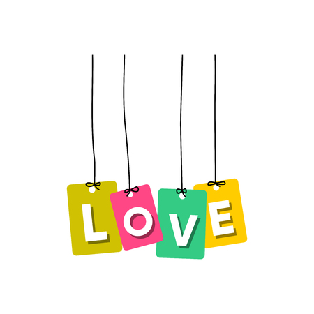 Love words hanging vector, colourful words vector isolated on white background