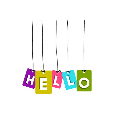 Hello hanging words vector, colourful words vector isolated on white background