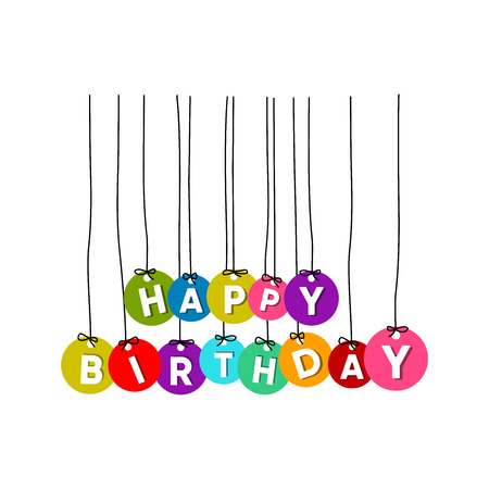 Colourful happy birthday hanging words vector isolated on whtie background
