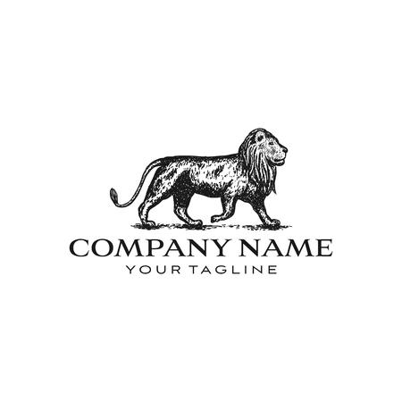 Illustrazione di design del logo del leone isolato su sfondo bianco