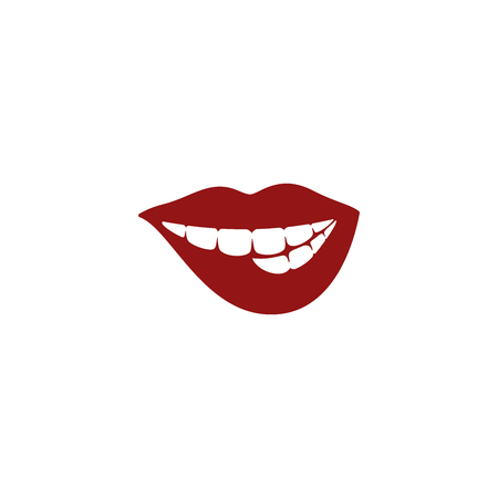 Sexy red lips vector illustration isolated on white background 矢量图像