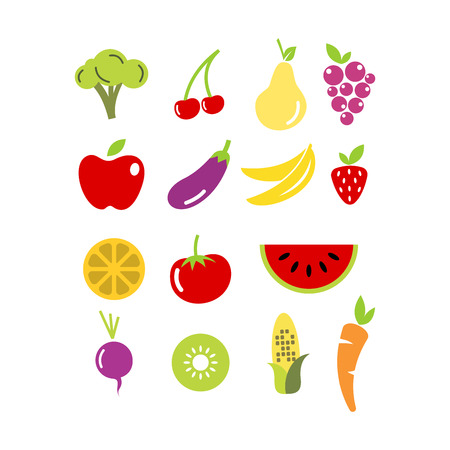 Flat icon of fruit and vegetables design isolated on white background