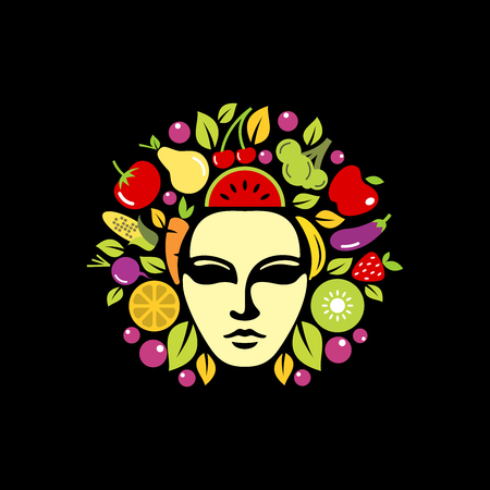 Medusa head with fruit and vegetables inside design inspiration isolated on white background