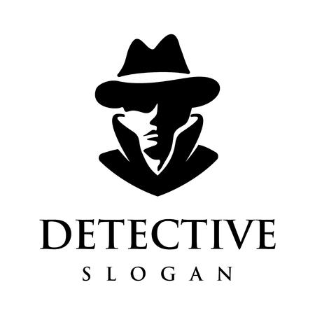 Inspiración de diseño de logotipo de cabeza de detective aislada sobre fondo blanco