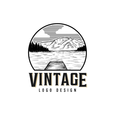 Vintage lake scenery logo design inspiration, hand drawn lake and mountain isolated on white background 矢量图像
