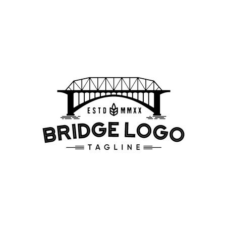 Retro bridge logo design inspiration isolated on white background