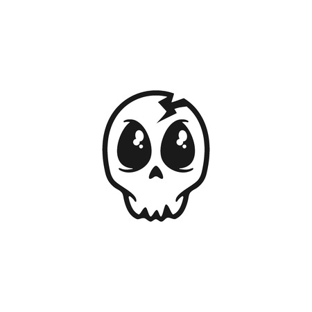 Cute skull vector illustration isolated on white background