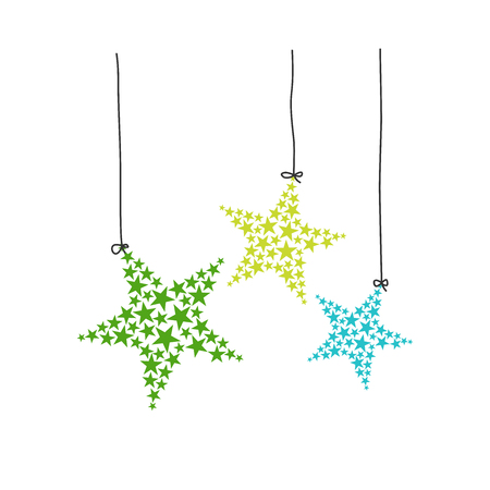 Hanging complex stars vector illustration