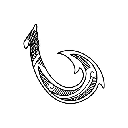 Hand drawn hawaiian fish hook logo design inspiration isolated on white background Illustration