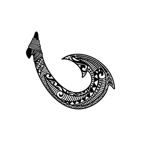 Inspiration de conception de logo de crochet de poisson hawaïen dessiné à la main isolé sur fond blanc
