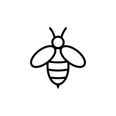Line art bee icon vector 矢量图像