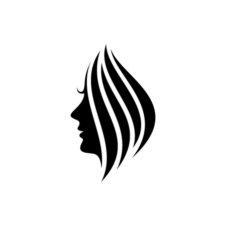 Woman face silhouette vector, beauty logo design template isolated on white background 矢量图像