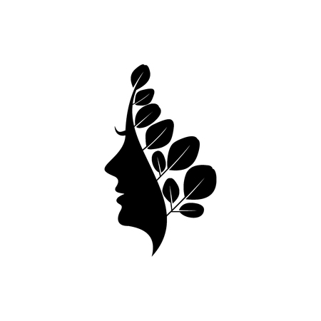 Moringa logo design, healty logo, beauty logo template, Woman face silhouette vector isolated on white background 矢量图像