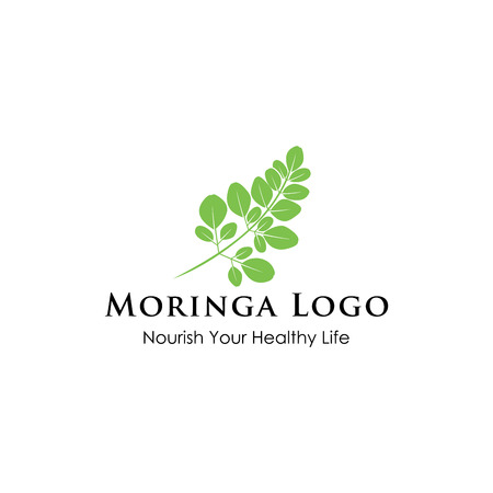 Moringa logo design inspiration isolated on white background 矢量图像