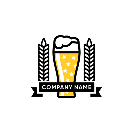 Glass of beer vector illustration, beer logo design inspiration isolated on white background 矢量图像