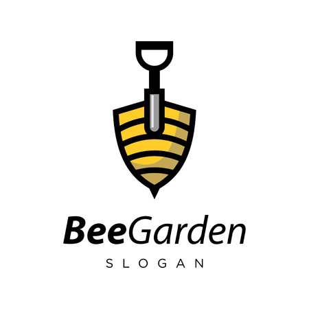 Creative bee and shovel logo design inspiration, hornet and shovel logo design inspiration