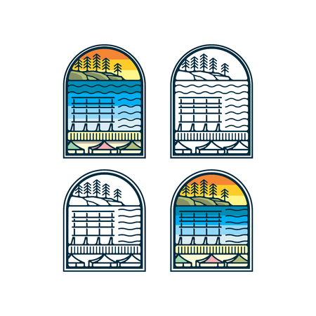 Pike street pubic market logo design inspiration - Lake scenery in lineart style vector illustration isolated on white background Illustration