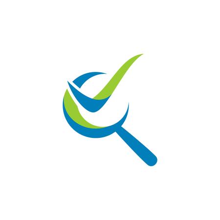 Audytowanie inspiracji do projektowania logo, logo szkła powiększającego, logo listy kontrolnej na białym tle Logo