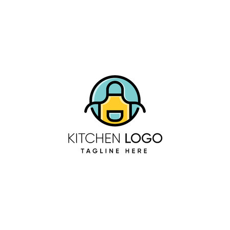 Apron logo design inspiration, Kitchen logo design inspiration isolated on white background