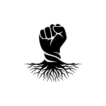 Ispirazione per il design del logo della mano del pugno, ispirazione per il design del logo della mano della radice isolata su sfondo bianco