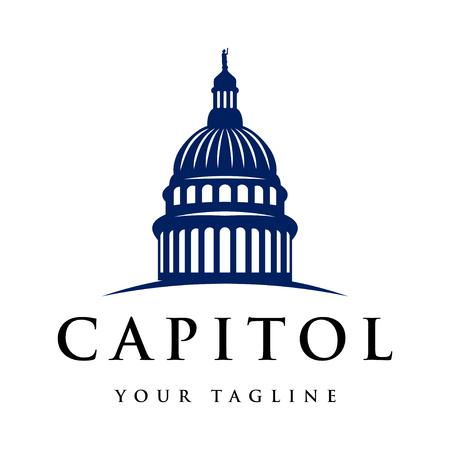 Ispirazione per il design del logo della cupola del Campidoglio - Ispirazione per il design del logo Capital isolato su sfondo bianco