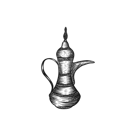 Hand drawn arabic tea pot vector inspiration isolated on white background