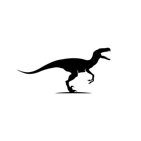 Raptor logo design inspiration, dinosaur logo design isolated on white background Vettoriali