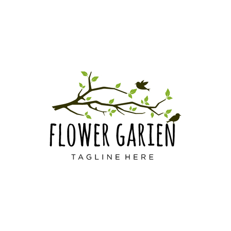 Branch logo design inspiration, garden logo design isolated on white background Vettoriali