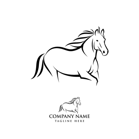 Illustration de conception de logo de cheval, vecteur de silhouette de cheval, illustration de vecteur de cheval isolé sur fond blanc