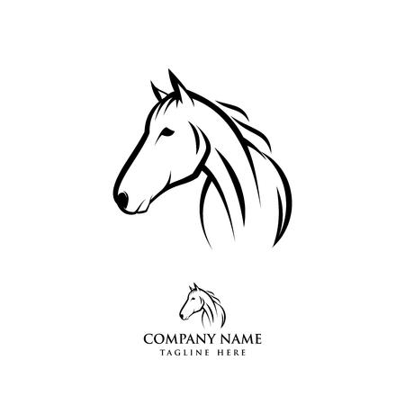 Pferdelogo-Designillustration, Pferdeschattenbildvektor, Pferdevektorillustration lokalisiert auf weißem Hintergrund