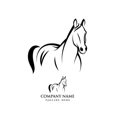 Horse logo design illustration, Horse silhouette vector, Horse vector illustration isolated on white background