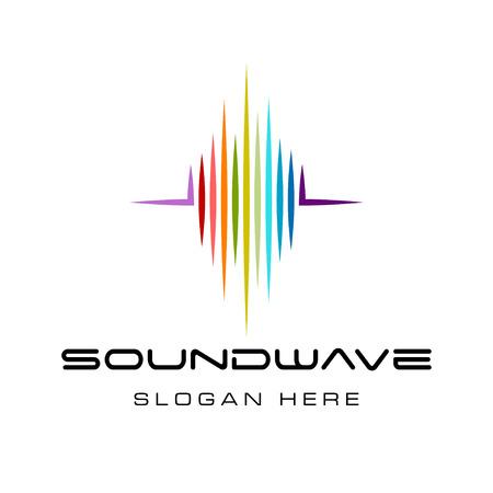 Ispirazione per il design del logo dell'onda sonora colorata, design del logo dell'onda della musica isolato su sfondo bianco Logo
