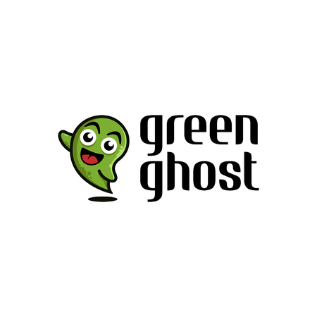 Simple cute ghost logo design in cartoon style illustration on white background, map pin logo design inspiration Ilustração