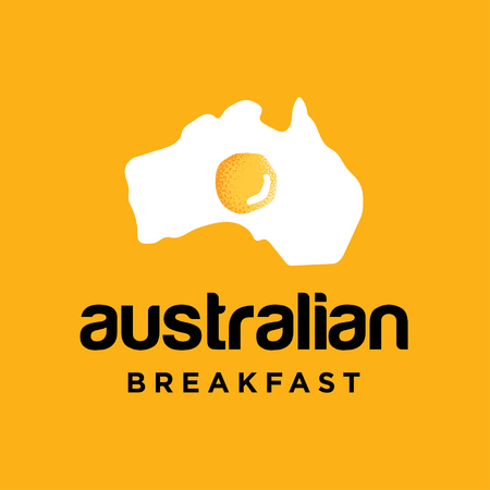 Food logo design with egg as australia continent illustration, breakfast logo design inspiration