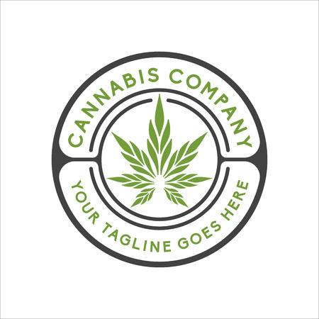 Cannabis logo design inspiration, Hemp logo design, CBD logo design isolated on white background Illustration