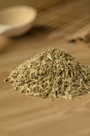 foeniculum: Spice foeniculum for meat and fish meal on a kitchen table. Stock Photo