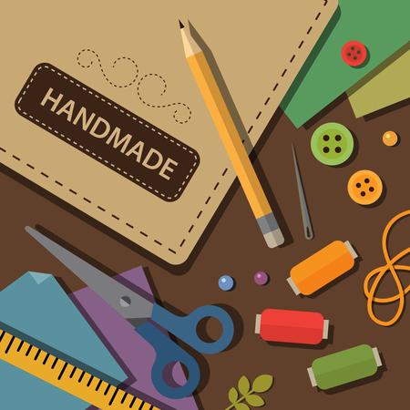 Crafting materials and tools flat illustration