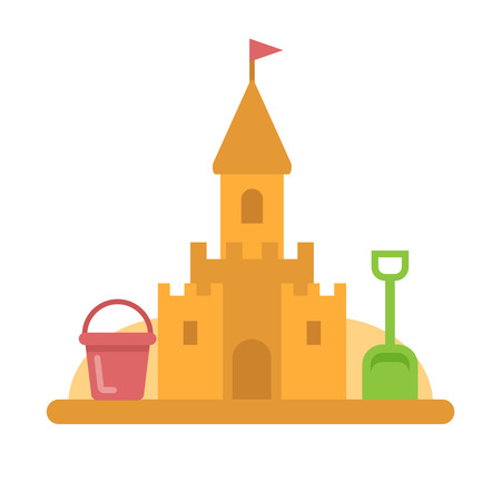 Sandcastle with toys flat icon vector illustration.