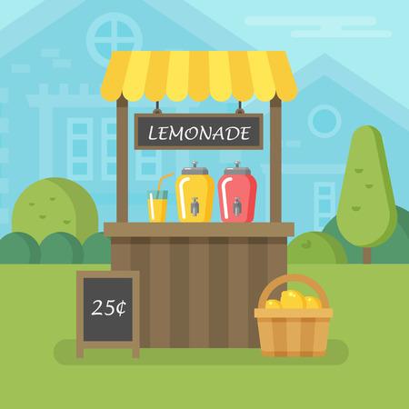 Lemonade stand flat illustration