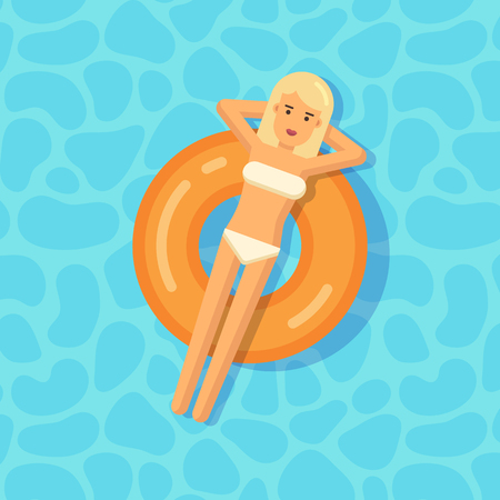 lying in bed: Young girl floating on an inflatable circle in a swimming pool Illustration
