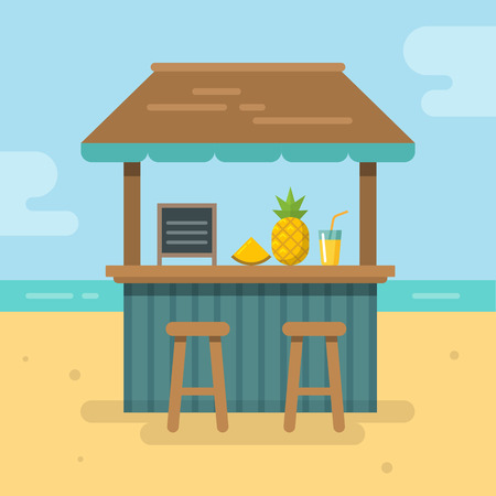 Beach bar flat illustration Ilustrace