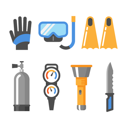 air gauge: Scuba diving gear flat icon set. Gloves, mask, snorkel, fins, air tank, pressure gauge, flashlight, knife.