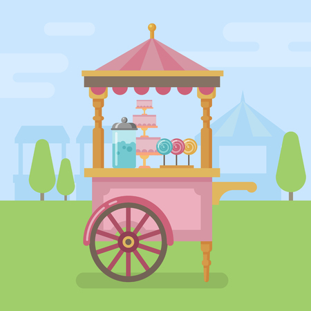 Candy cart flat illustration